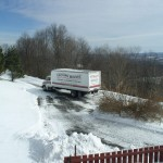 Movers making the turn into the driveway